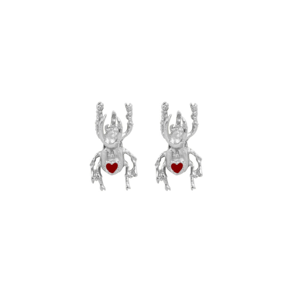 Beetle Heart Mini Studs Silver