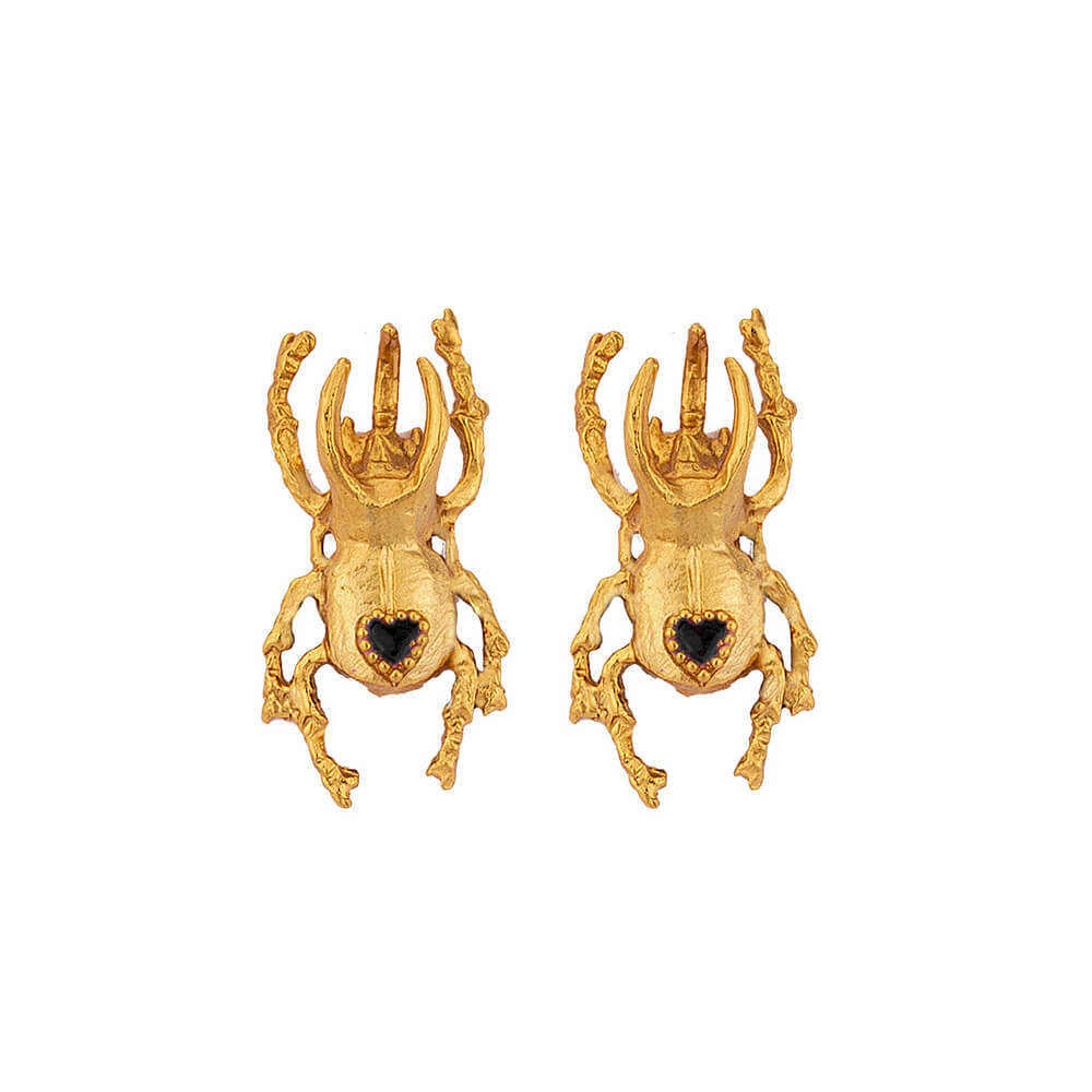 Beetle Heart Medium Studs