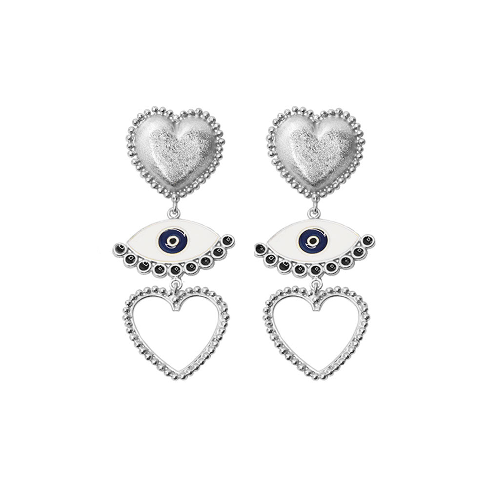 Eye Heart You Silver Earrings