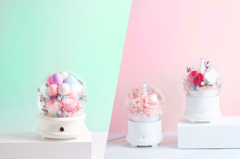 Crystal Ball, Aromatherapy Diffuser and Humidifier made with eternal flowers