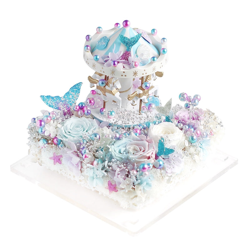 Carousel (Blue) with Music and LED|Forever Rose|Eternal Flower|Léselle