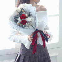 Rose Bouquet (White & Red)|Forever Rose|Eternal Flower|Léselle