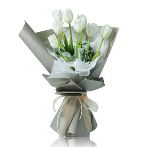 Netherlands White Tulip Fresh Flower Bouquet