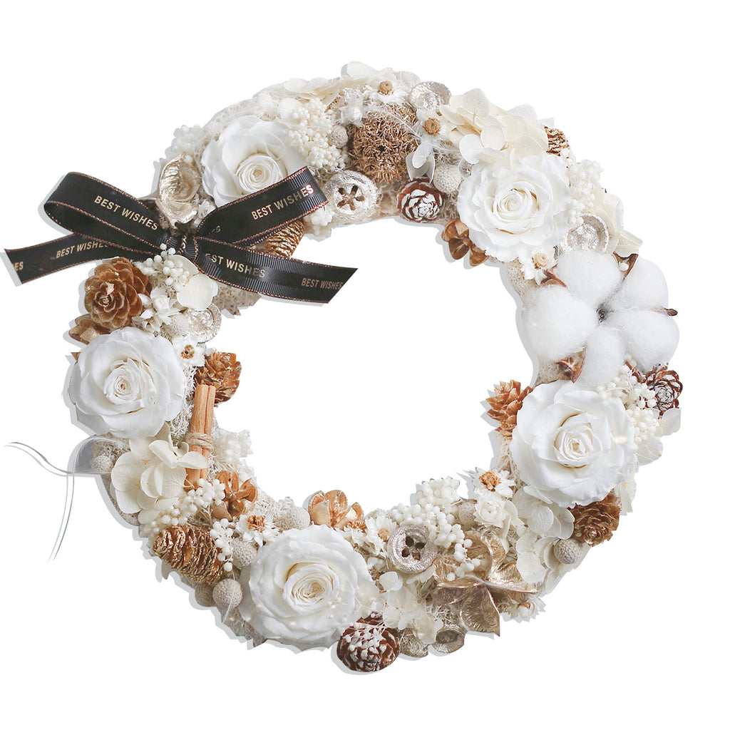 Christmas Wreath (White/Gold)|Forever Rose|Eternal Flower|Léselle