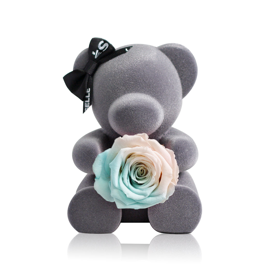 Eternal Rose Bear (Blue / White)|Forever Rose|Eternal Flowers|Léselle
