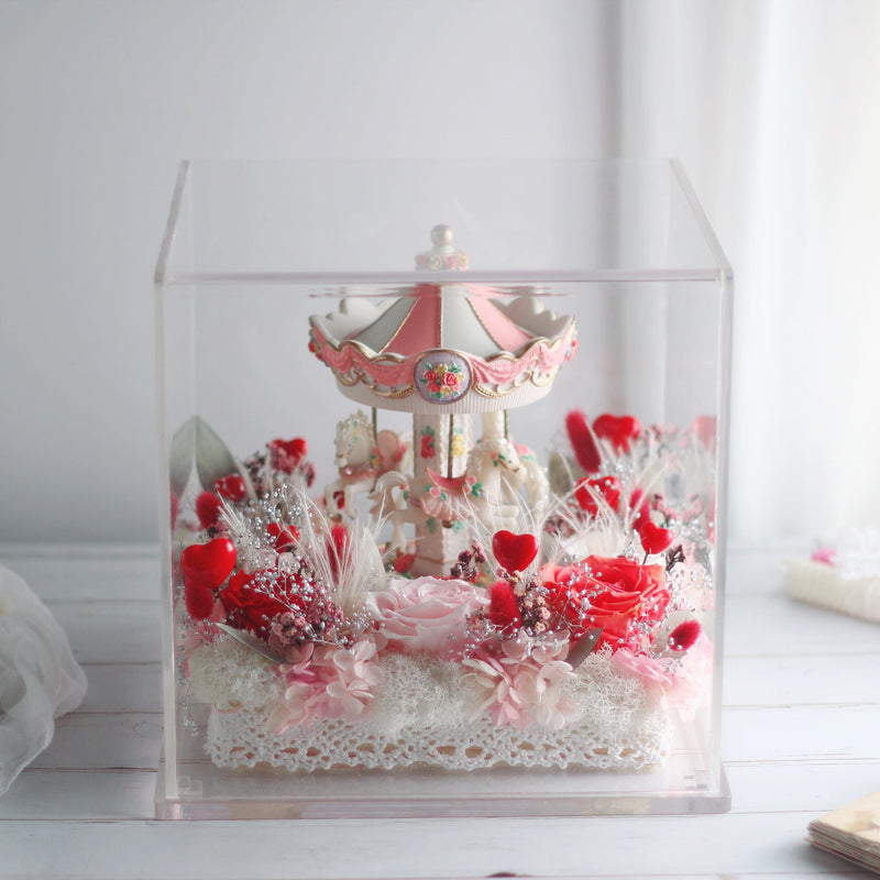 Léselle Preserved Flower - Carousel Premium with Music and LED light (red)