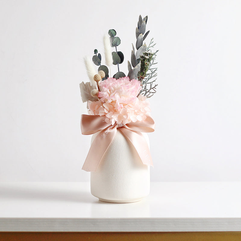 Eternal Carnation in a Vase (White & Pink)
