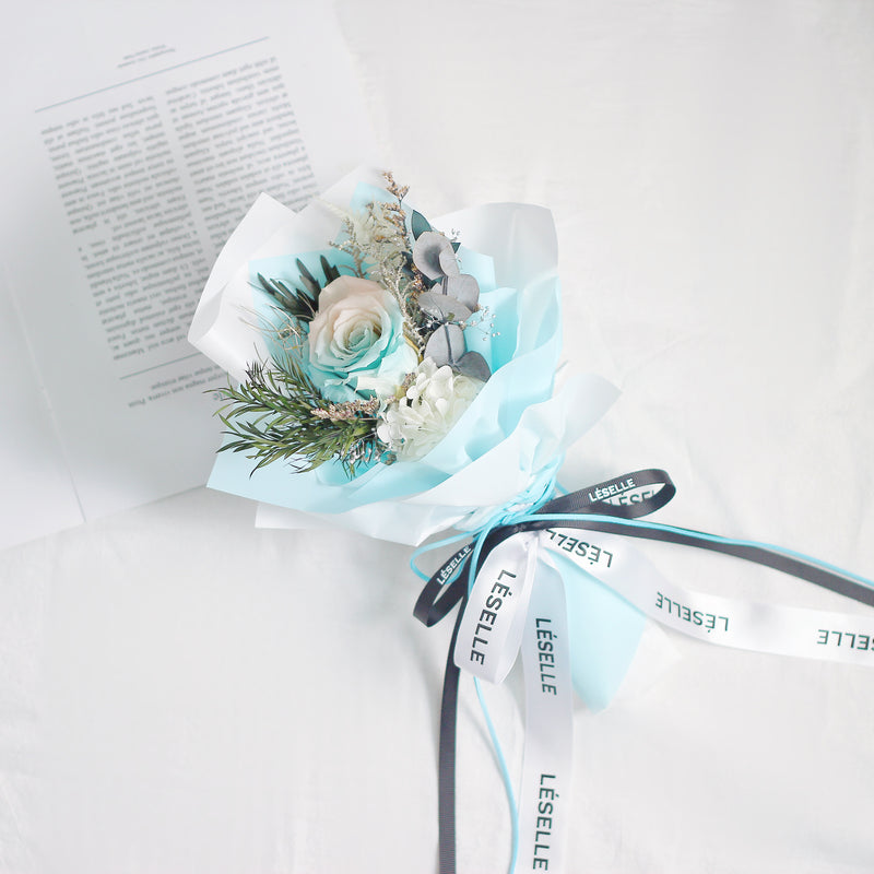 Single Rose Bouquet (White & Blue)|Forever Rose|Eternal Flower|Léselle
