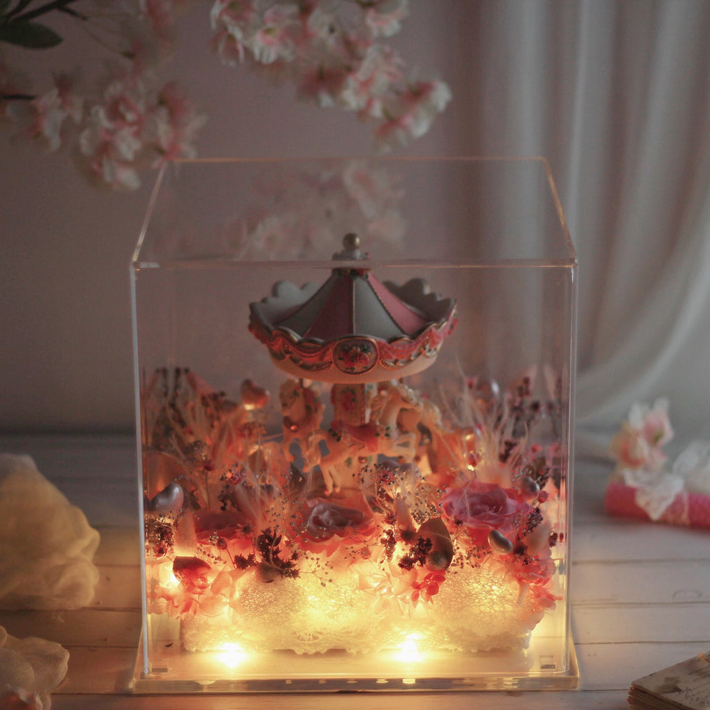 Léselle Preserved Flower - Carousel Premium with Music and LED light (pink)
