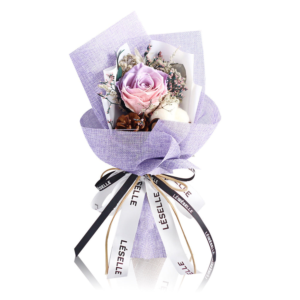 Single Rose Bouquet (Purple & Pink)|Forever Rose|Eternal Flower|Léselle