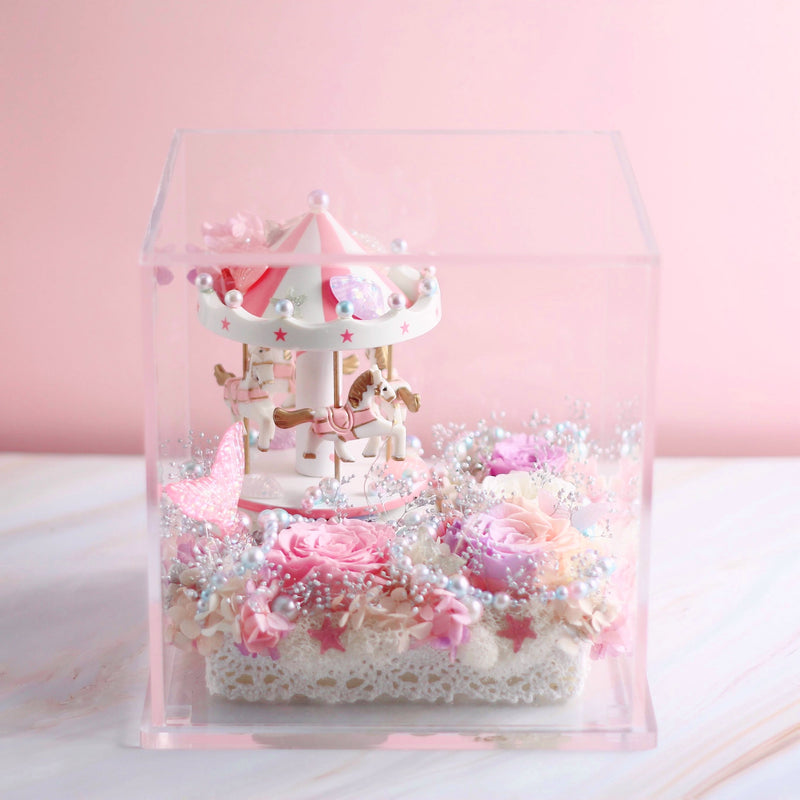 Léselle Preserved Flower - Carousel with Music and LED light (pink)