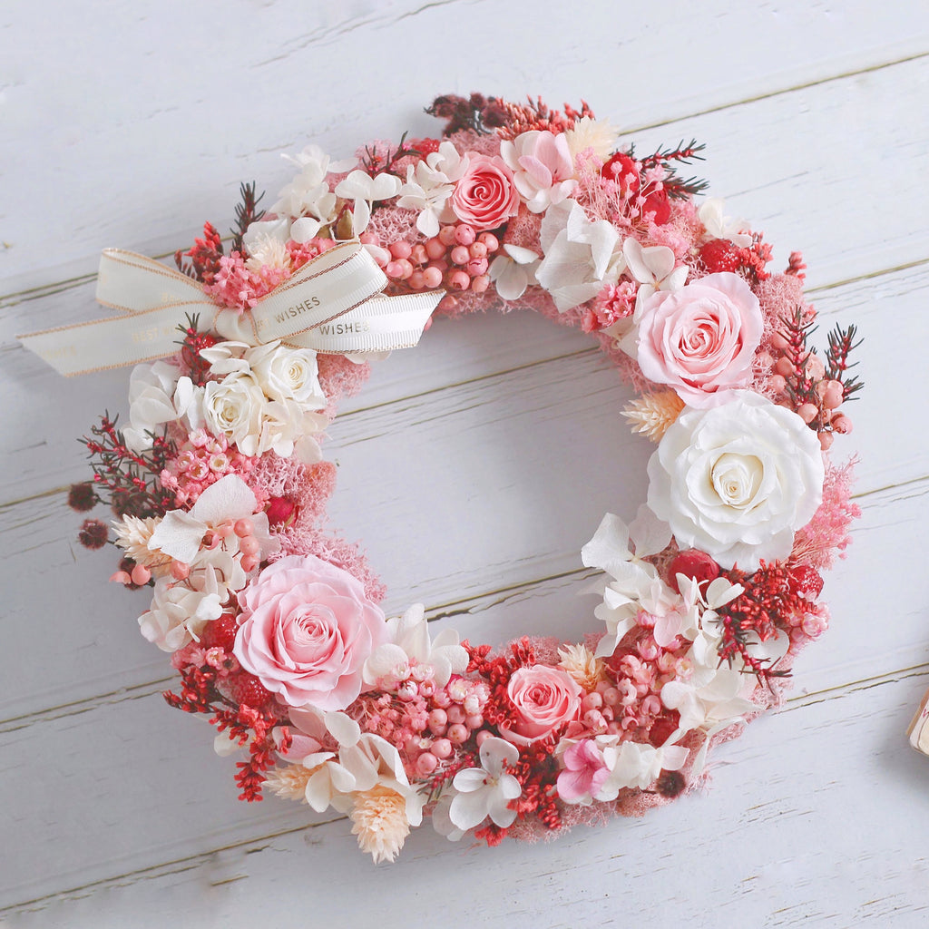 Léselle Preserved Flower - Christmas Wreath (pink)