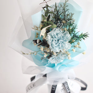 Single Carnation Bouquet (Baby Blue)