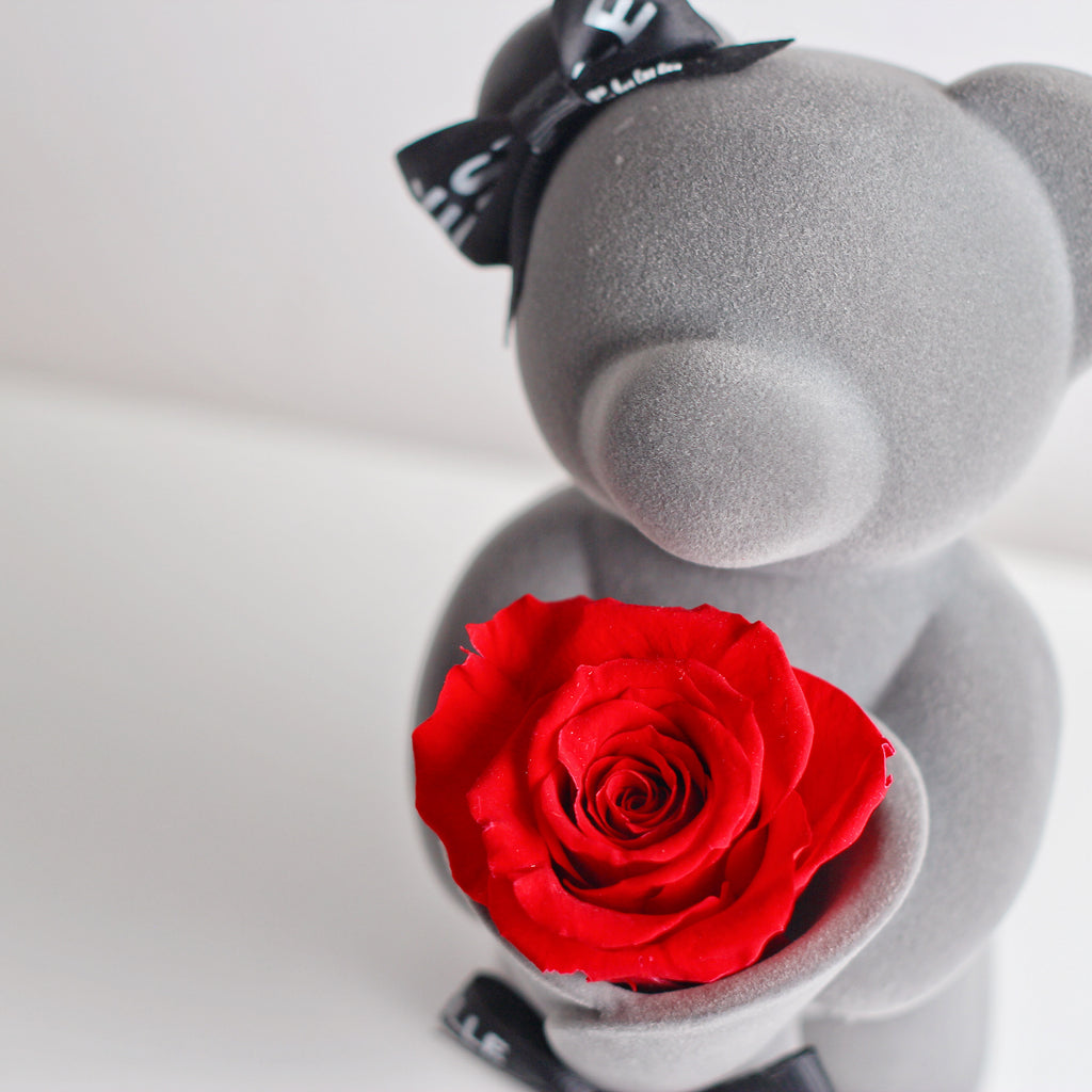 Standing Eternal Rose Bear (Red)