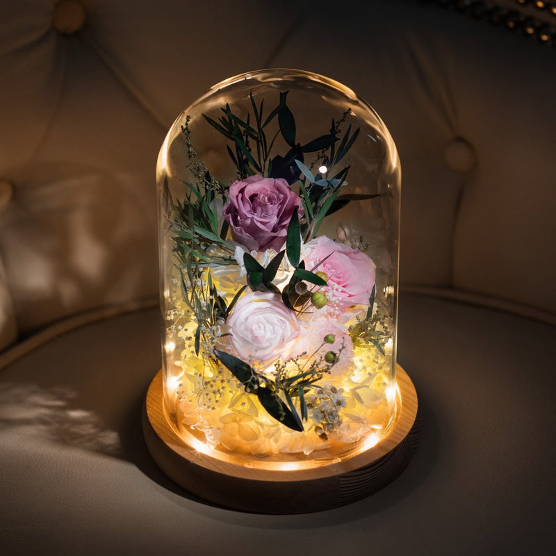 Preserved Flowers in Glass Dome 玫瑰永生花玻璃罩擺設