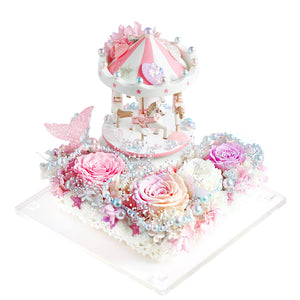 Carousel (Pink) with Music and LED|Forever Rose|Eternal Flower|Léselle