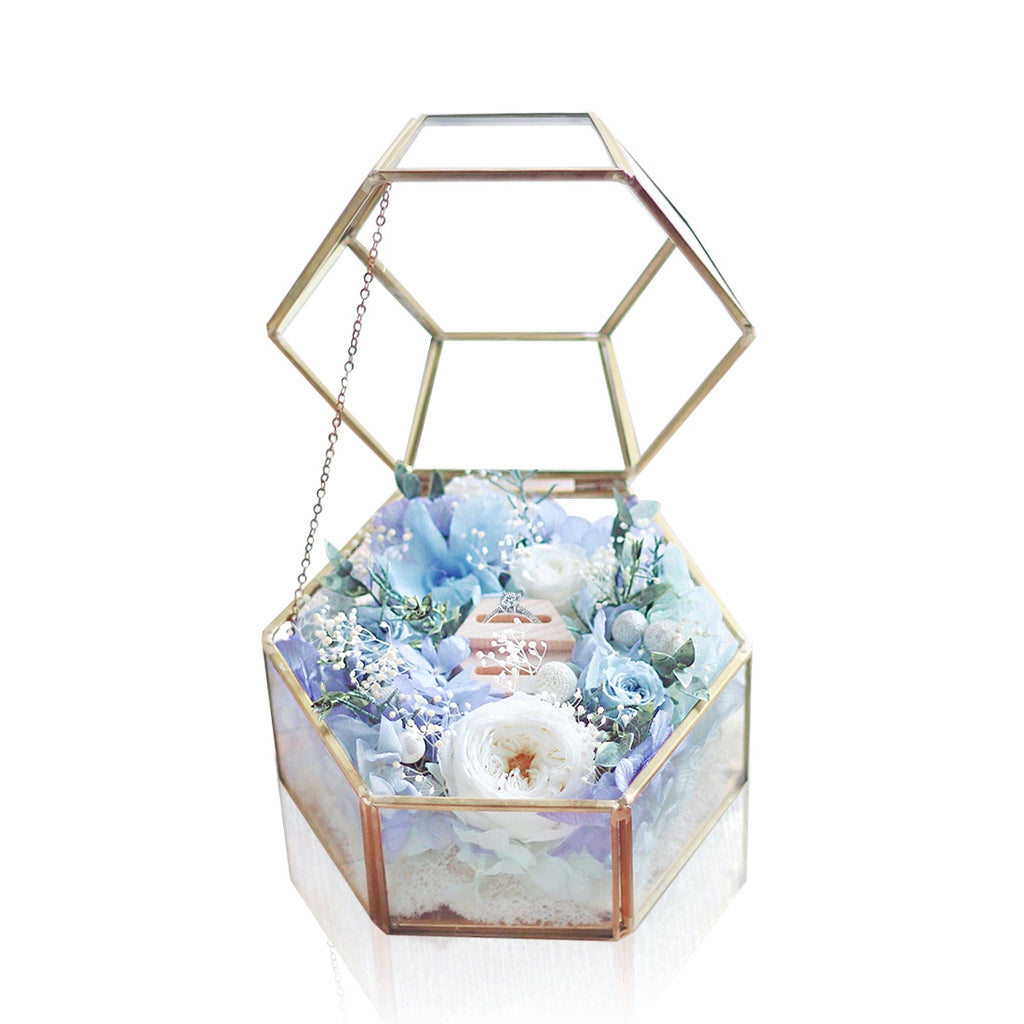 Blue Ring Box with LED light|Forever Rose|Eternal Flower|Léselle