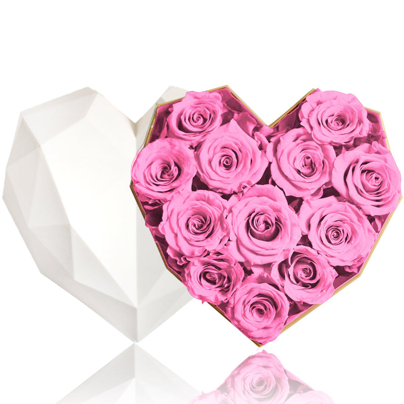 12 Pink Rose Flower Box|Forever Rose|Eternal Flowers