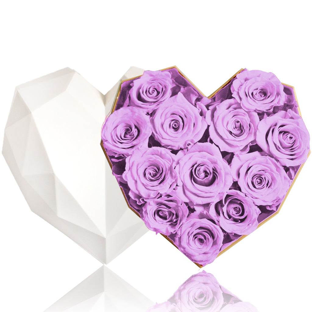 12 Purple Rose Flower Box