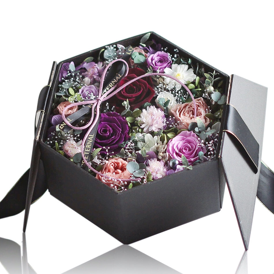 Léselle's Flower Box (Black)|Forever Rose|Eternal Flower|Léselle