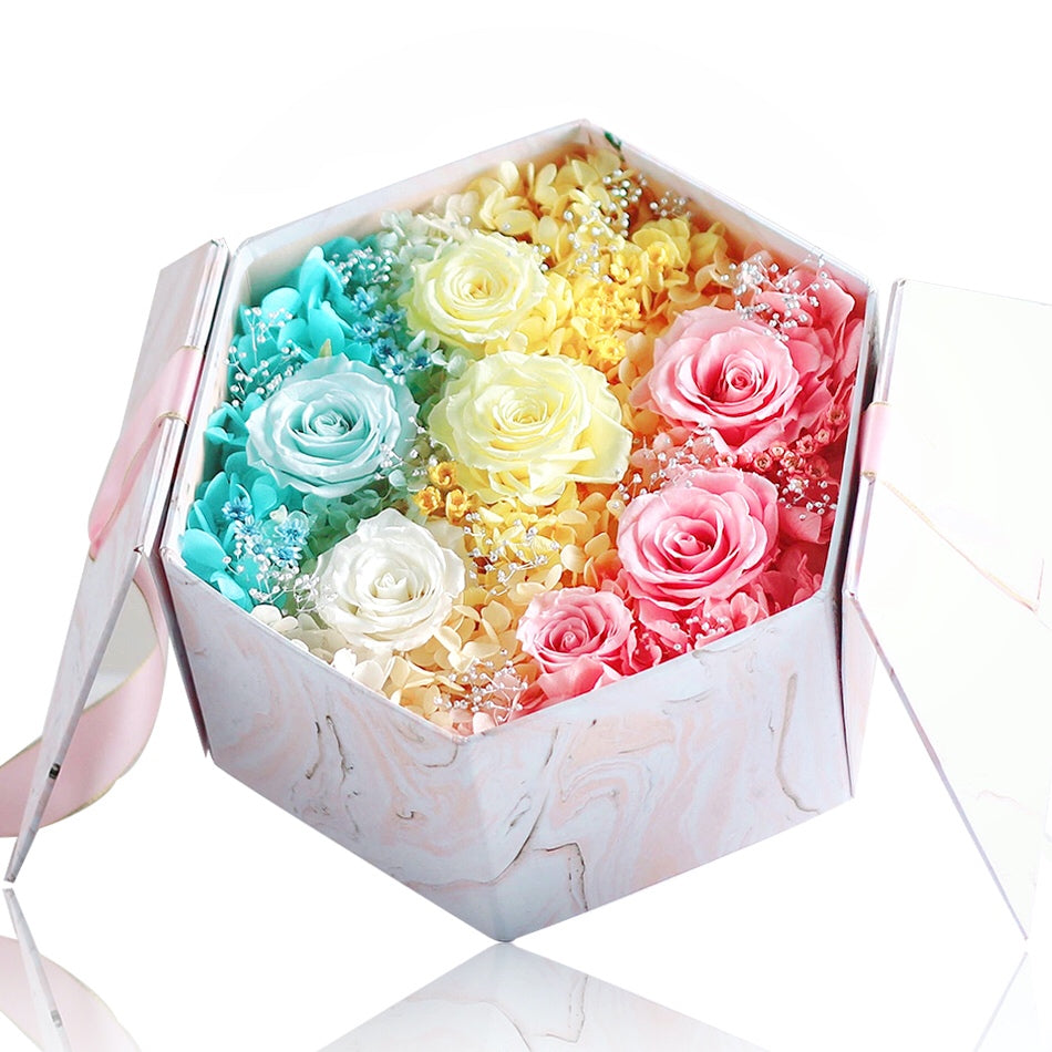 Léselle's Flower Box (Rainbow)|Forever Rose|Eternal Flower|Léselle
