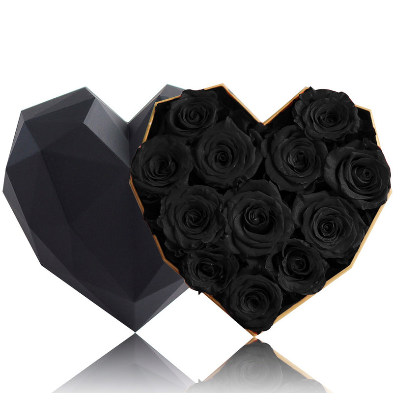 12 Black Rose Flower Box