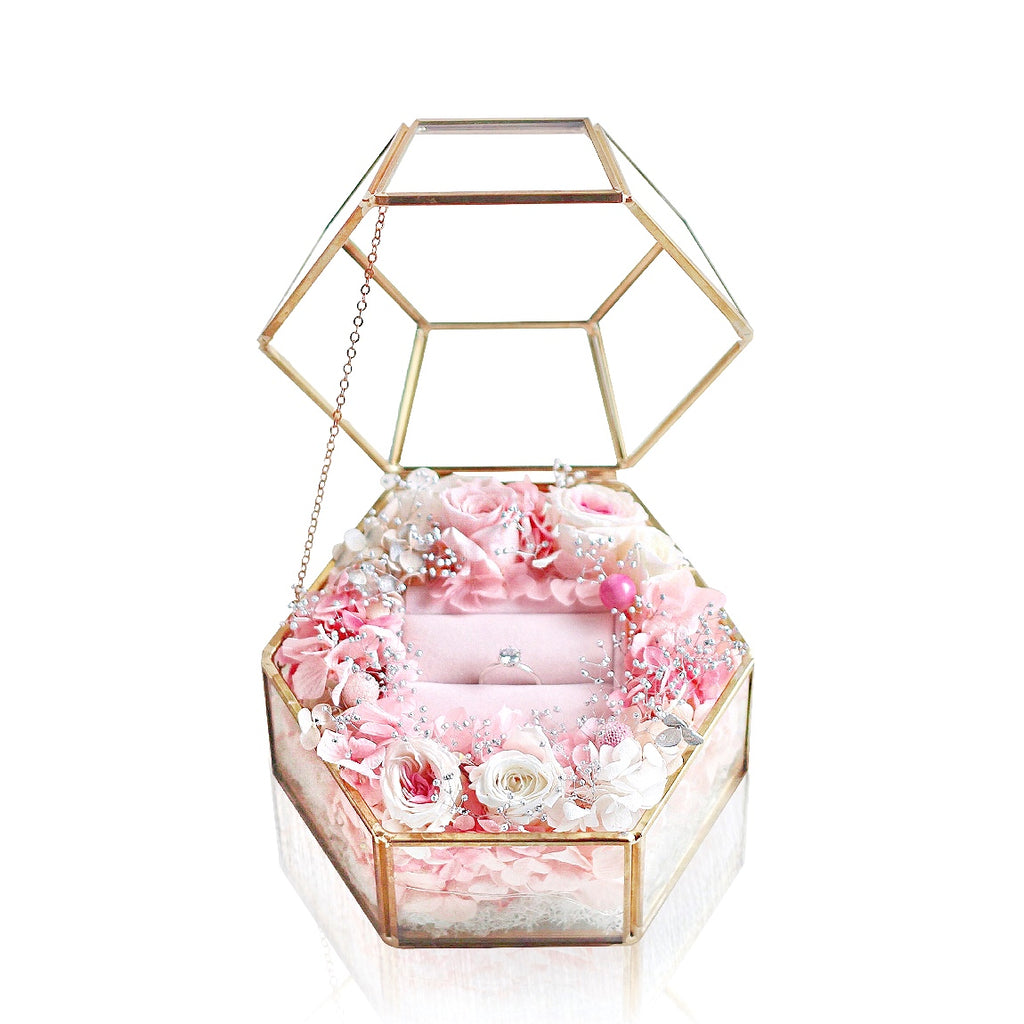 European Hexagonal Eternal Flower Ring Box 歐式六角形永生花戒指盒