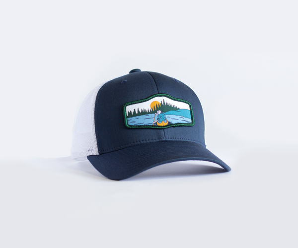 Canoeist Trucker Hat • Navy Blue Trucker Hat with Canoe Badge Patch