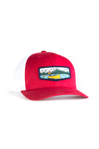 Canoeist Trucker Hat • Red Trucker Hat with Canoe Badge Patch