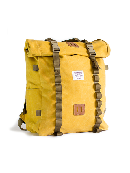 Rolltop Pack - Waxed • Waxed Canvas Roll top Hiking Backpack with Laptop Sleeve Mustard Yellow