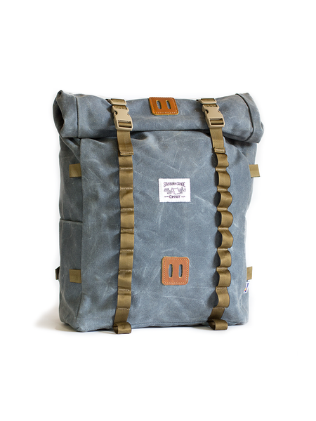 Rolltop Pack - Waxed • Waxed Canvas Roll top Hiking Backpack with Laptop Sleeve Slate Blue