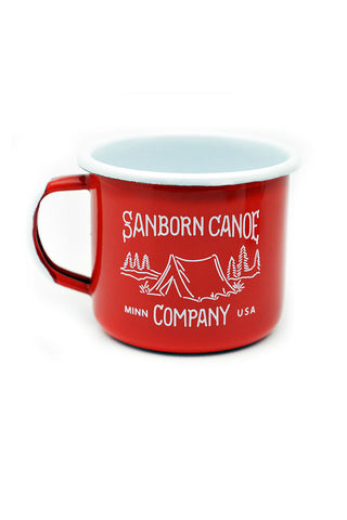 RED ENAMEL CAMP MUG