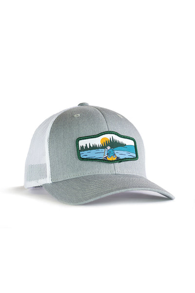 Canoeist Trucker Hat • Gray Trucker Hat with Canoe Badge Patch