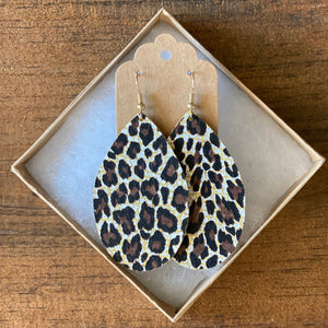 Chocolate Leopard Leather Earring