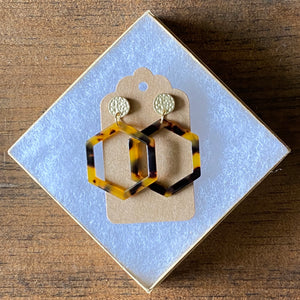 Mini Tortoise Hexagon Earring