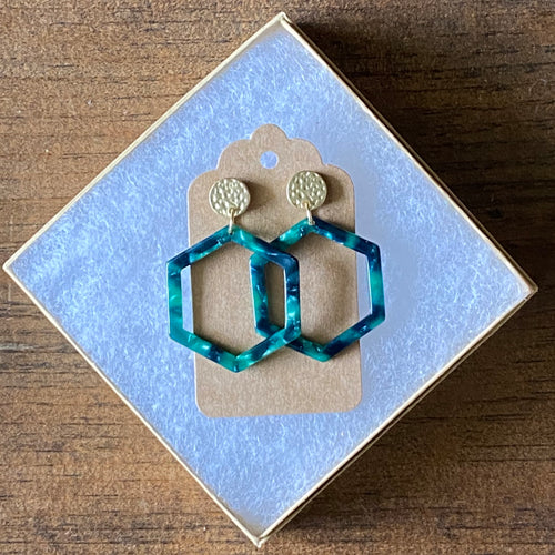Mini Green & Navy Tortoise Hexagon