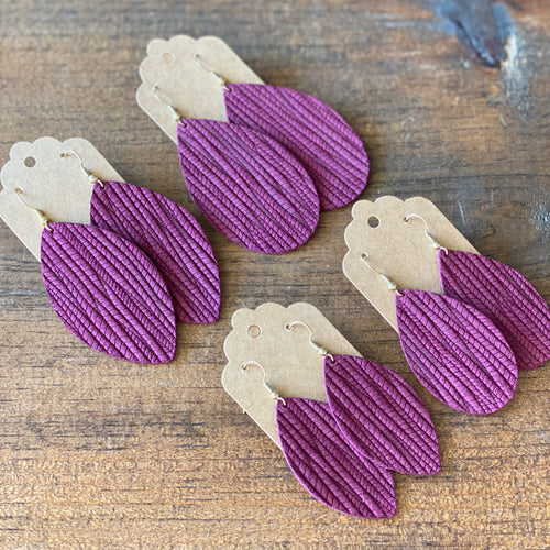 Deep Plum Palm Leather Earring (additional styles available)