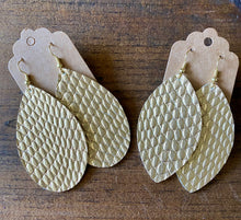 Load image into Gallery viewer, Gold Cobra Leather Earrings