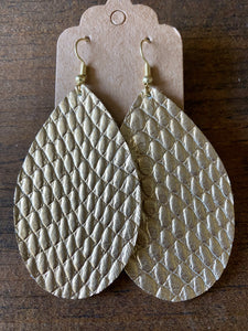 Gold Cobra Leather Earrings
