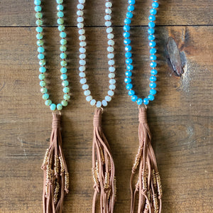 Tan Suede Tassel Necklace