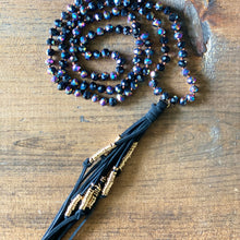 Load image into Gallery viewer, Black Suede Tassel Necklace