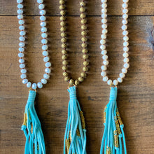 Load image into Gallery viewer, Aqua Suede Tassel Necklace