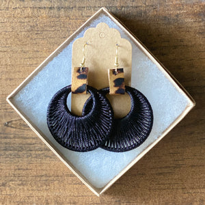 Woven Hoops with Animal Print Accent