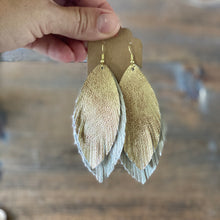 Load image into Gallery viewer, Antique Gold and Cream Double Boho Leather Earring