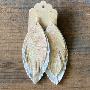 Antique Gold and Cream Double Boho Leather Earring