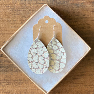 Silver and White Crackle Leather Earrings (additional styles)