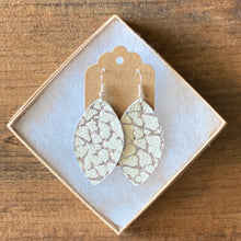 Load image into Gallery viewer, Silver and White Crackle Leather Earrings (additional styles)