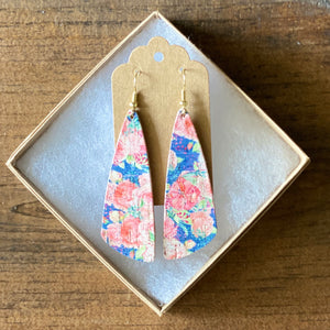 Rose Bouquet on Navy Cork Leather Earrings (additional styles)