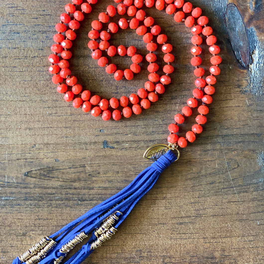 Team Blue and Dark Orange Tassel Necklace