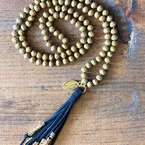 Team Black and Gold Tassel Necklace